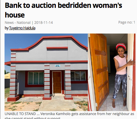 In Namibia, Stanbic grabs house from bedridden client