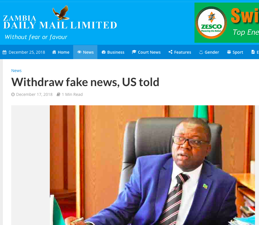 USA ignores demands by Zambia for an apology