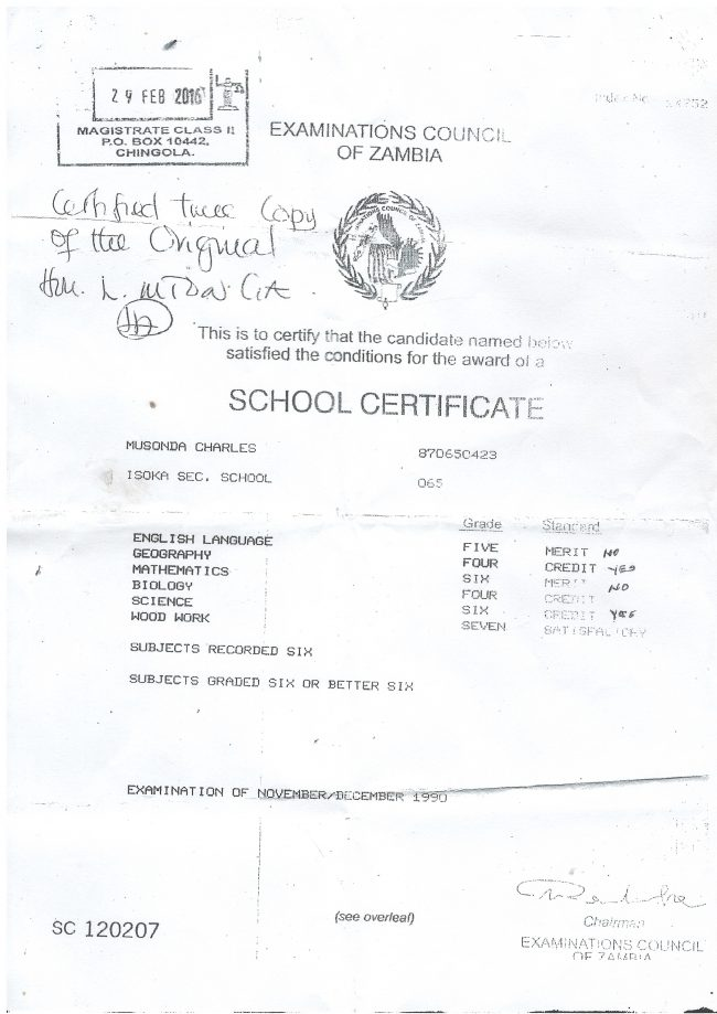 Forgery of grade 12 certificates in PF rampant - Zambian Watchdog