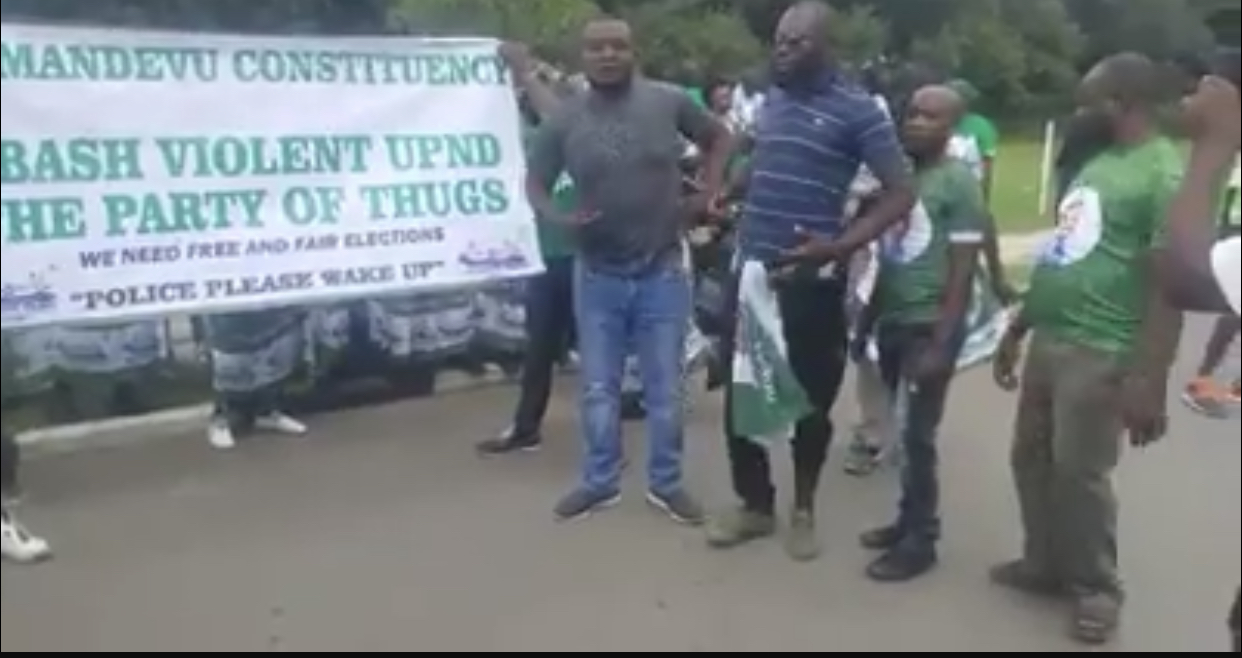 PF thugs protesting at parliament without permit
