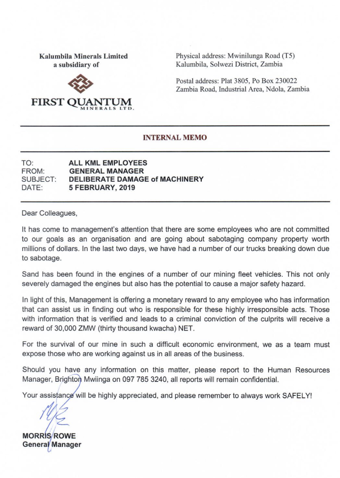 Reduced salaries; First Quantum miners hit back
