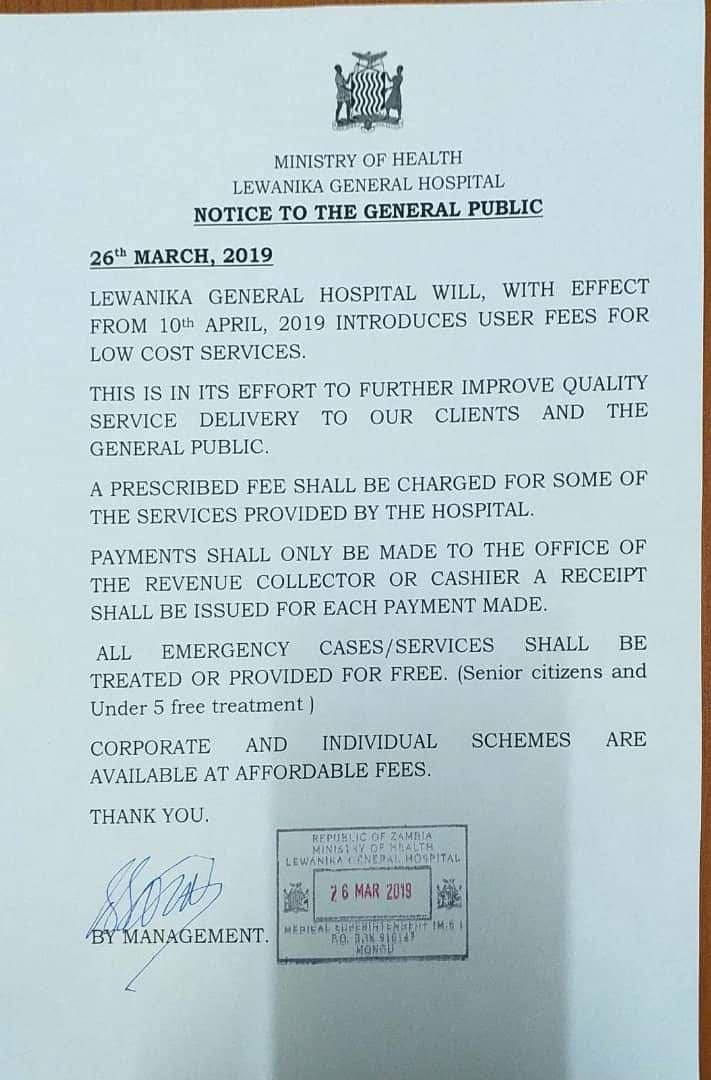 PF introduces user fees in hospitals