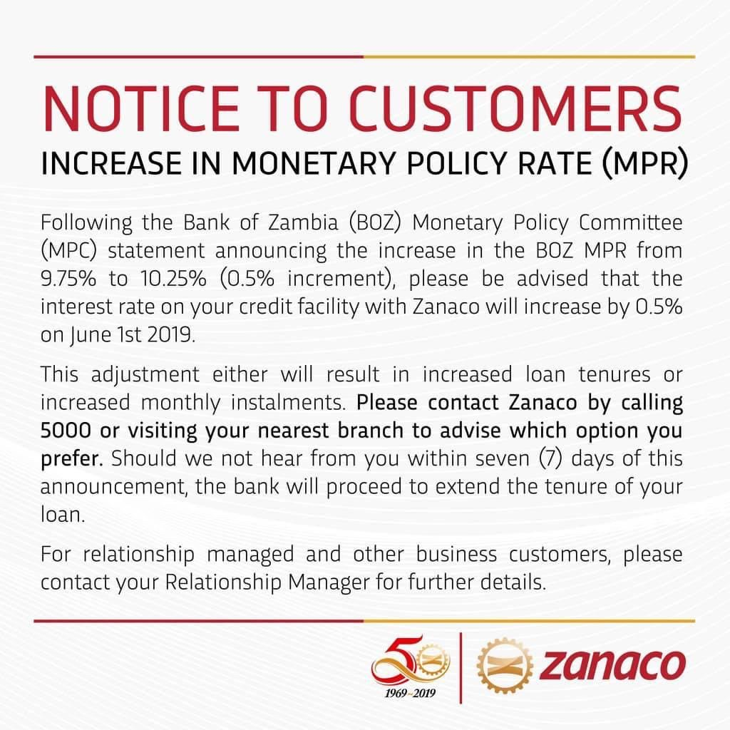 ZANACO increases loan rates tenures