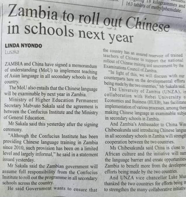 Zambia agrees to teach Chinese in all school