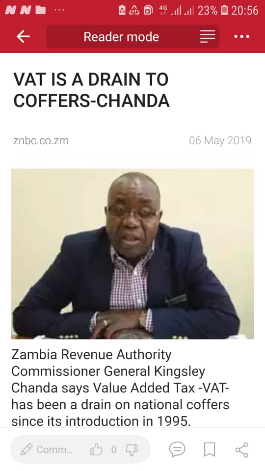 ZRA claims VAT has been drain on national coffers