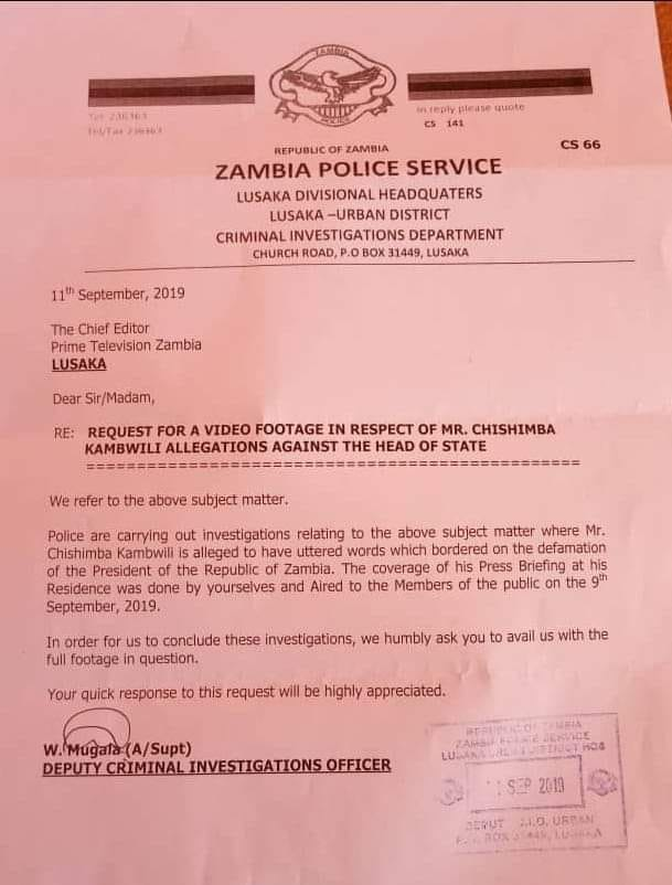 Now regular police pursue Kambwili