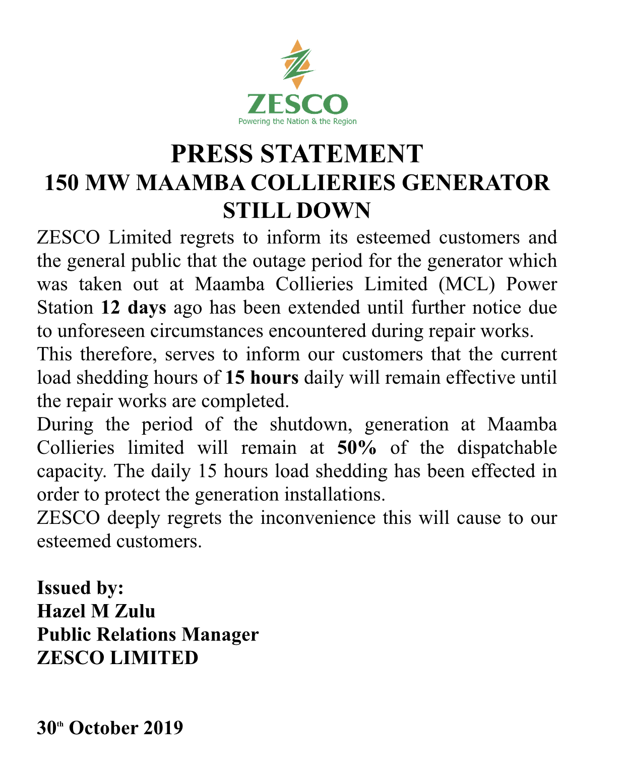 Maamba collieries says Zesco not being truth