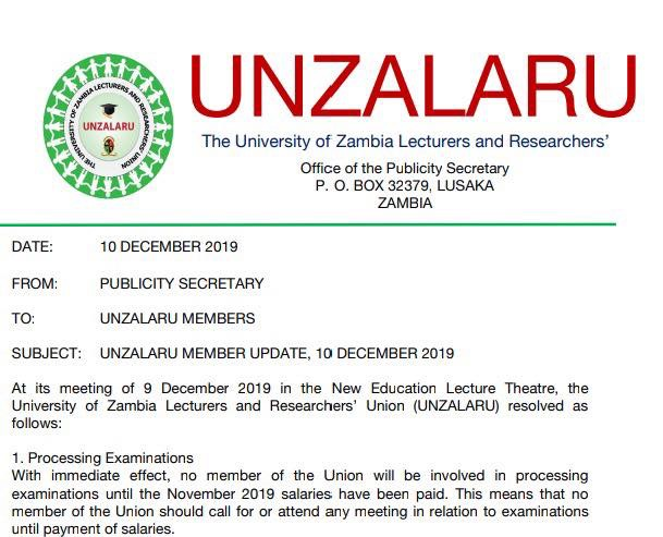 Unza lecturers go on strike