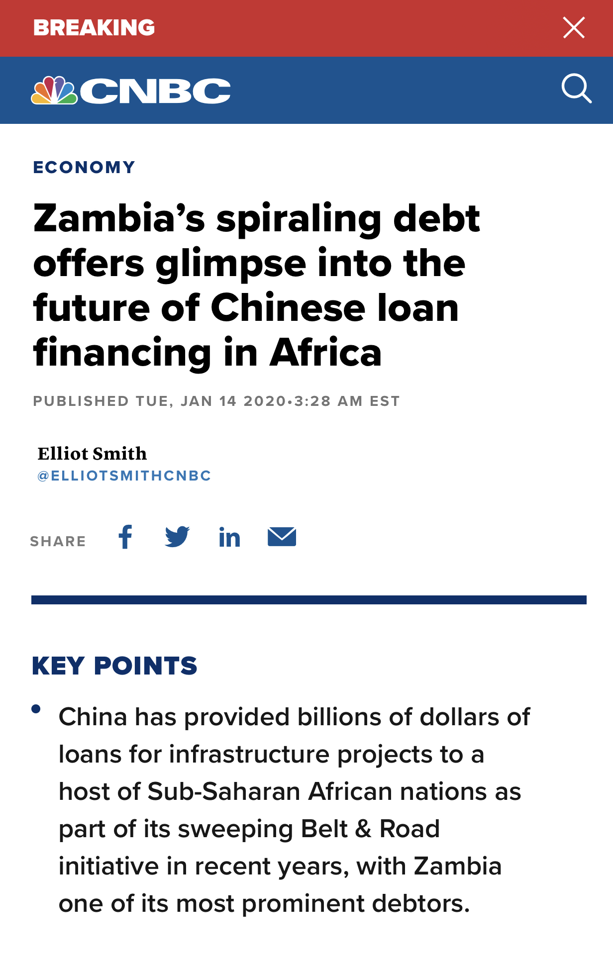 Zambia's spiraling debt offers glimpse into the future of Chinese loan financing in Africa