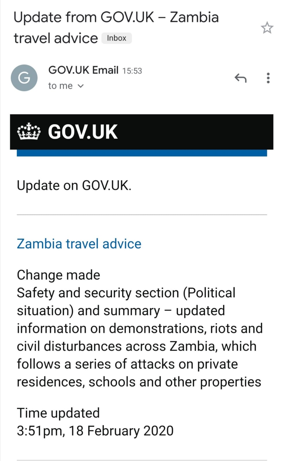 UK issues warning on security situation in Zambia