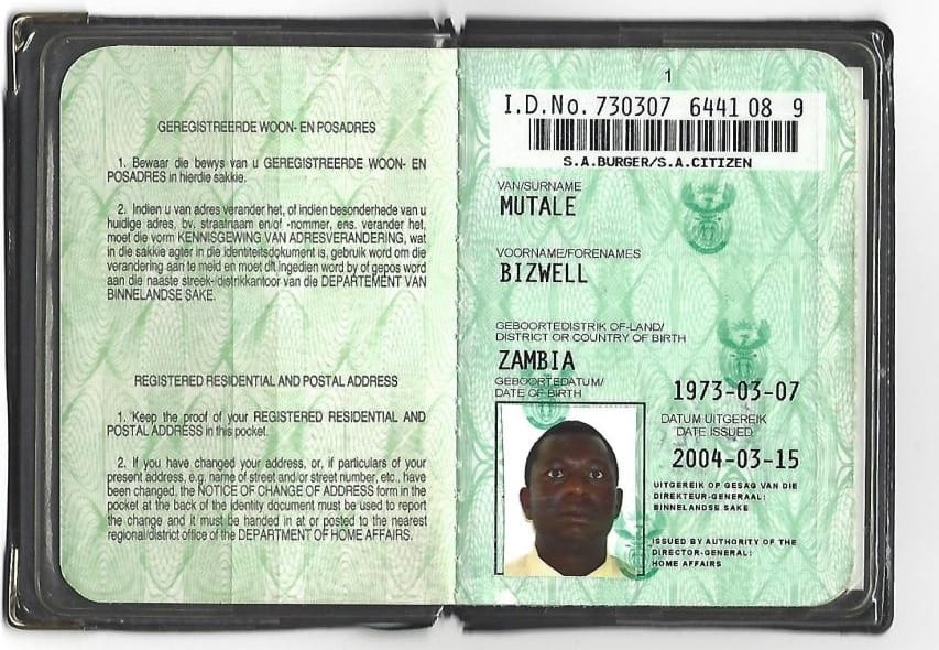 Bizwell Mutale using fake South African ID