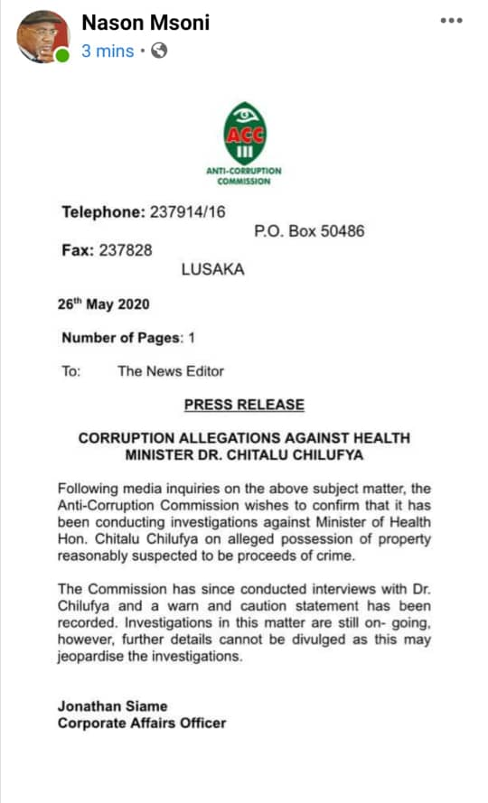 ACC confirms investigating minister Chilufya