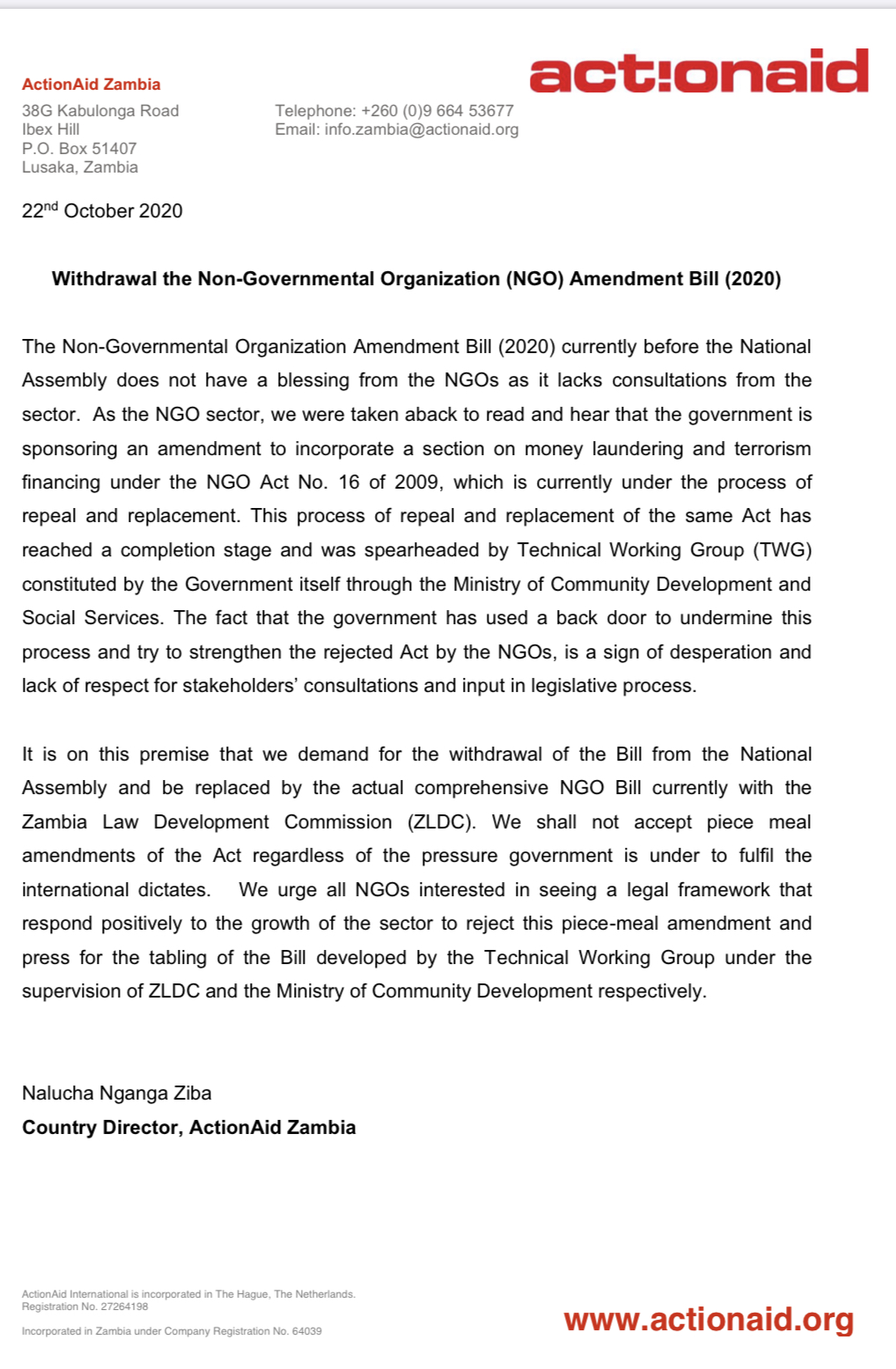 Action aid says NGO amendment bill should be withdrawn from parliament