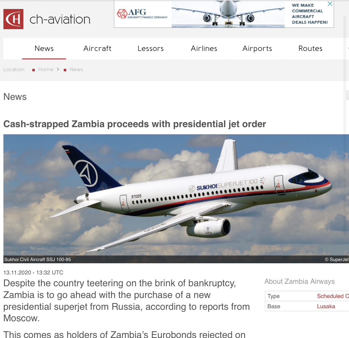 Cash-strapped Zambia proceeds with presidential jet or