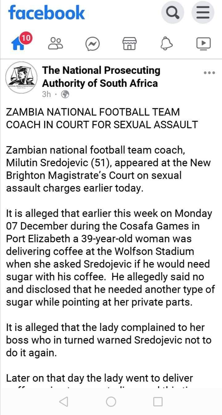 Chipolopolo coach charged with sexual assault