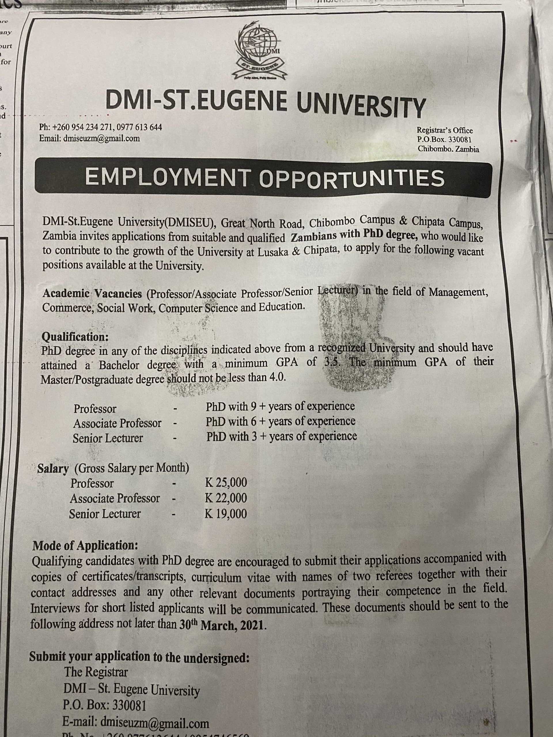 Salaries for professors in Zambian