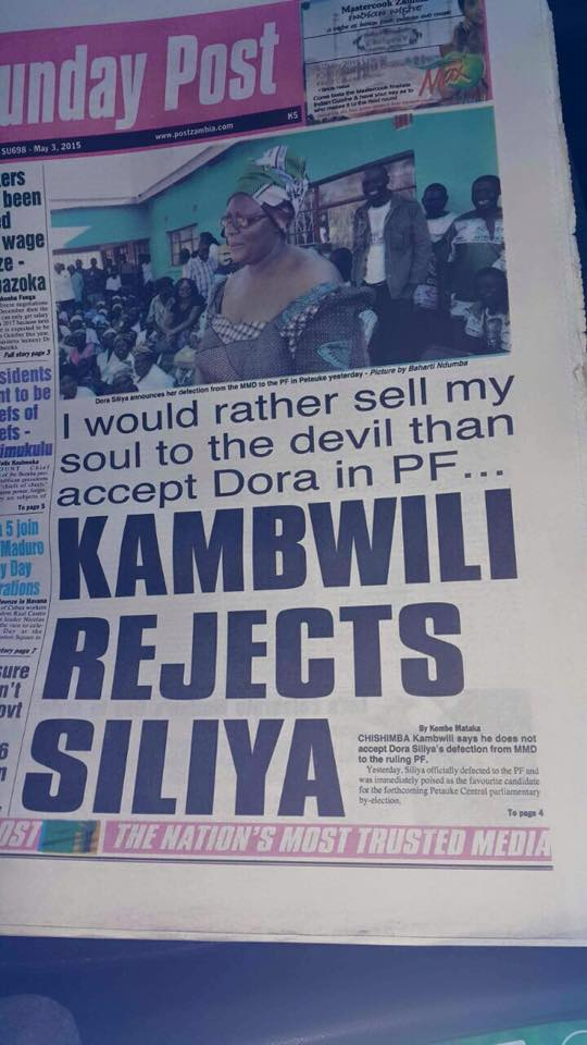 For how much did Kambwili sell his soul to Lucifer ?